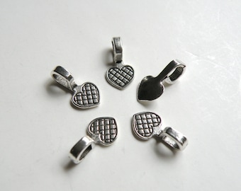 20 small Heart glue on bails antique silver 16x8mm PLF11521Y