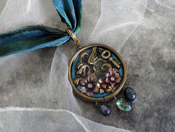 steam punk dragon necklace