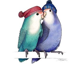 Lovebirds in Bobble Hats - A4 Print