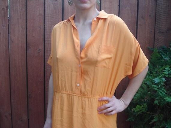 1980s Diane von Furstenberg Citrus Orange Silk Shirt Dress / Women's Size 8 Medium