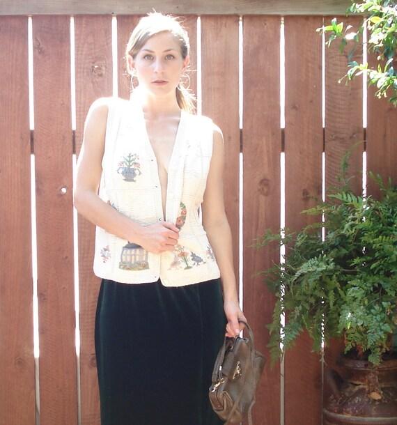 RESERVED CATH //// 1990s Ralph Lauren Bone White Americana Knit Vest - Women's Size Small