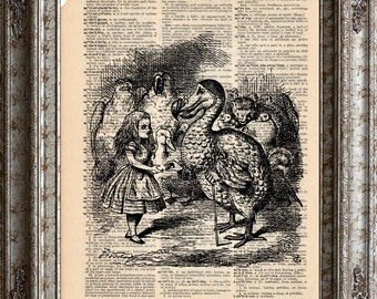 Alice in Wonderland 4 Dodo on Vintage Upcycled Dictionary Art Print Book Art Print bookworm gift