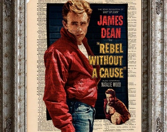 James Dean -Rebel Without A Cause on Vintage Upcycled Dictionary Page Book Art Print Movie bookworm gift