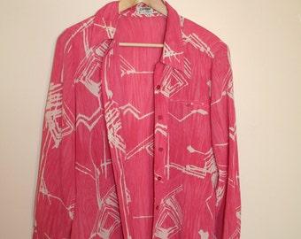 Pink and White Pattern Loose Shirt