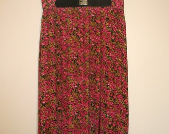 Raspberry Pink, Black and Gold Floral Pleated Midi Skirt
