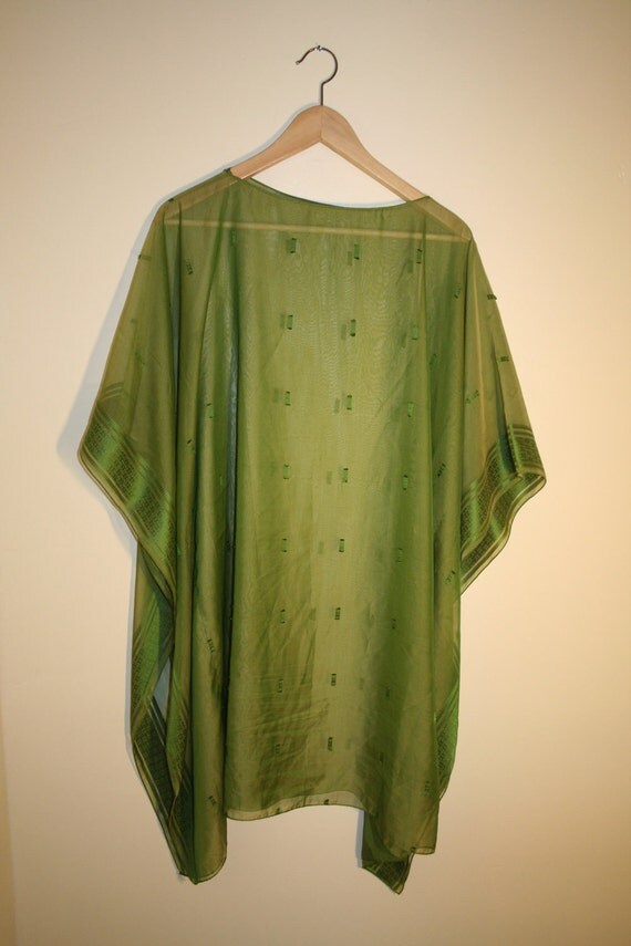 Vintage Handmade Green See Through Kaftan
