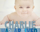 Charlie - Baby Boy Photo Birth Announcement - Digital File, You Print OR I Print