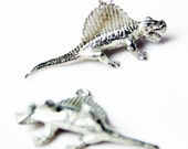 Dinosaur Charm, Awesome 3-D Pewter Dimetrodon Pair