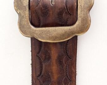 1970s Stamped Leather Belt with Brass Daisy Buckle, Western Prairie Hippie, Bell Bottoms, Womens Ranch Wear, Handmade Ooak size Medium Large