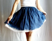 Blue circle skirt - lace skirt tutu skirt mini skirt womens skirt
