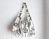 Black white beach tote bag - big tote summer fashion