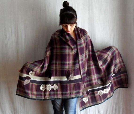 RESERVED - Patchwork plaid shawl - wraps shawls womens shawl fall fashion