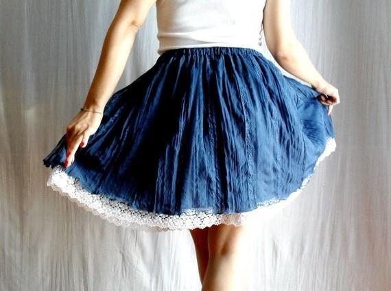 Blue circle skirt - lace skirt tutu skirt mini skirt womens skirt