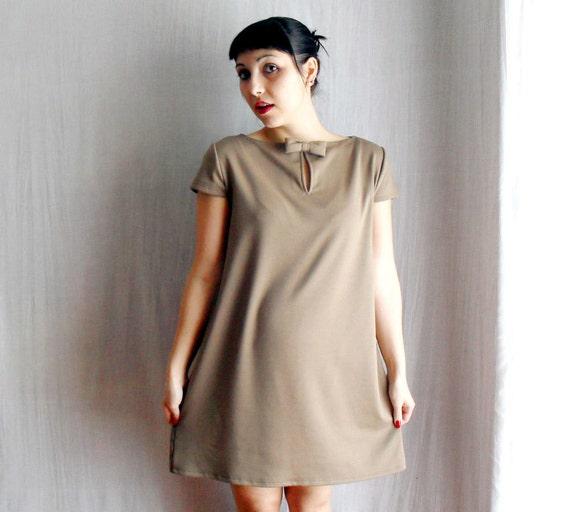 Light brown aline dress short sleeved tunic dress  60s vintage inspired