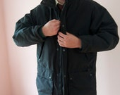 Vintage 1980's Men's Woolrich Car Coat FREE SHIPPING Black Poplin Size Medium - Lots of Pockets to Lose Things In - VMC7