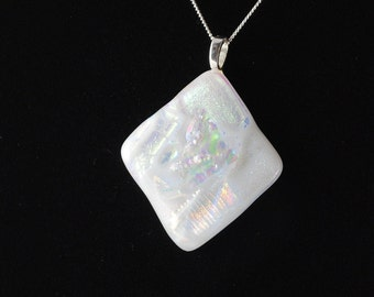 Necklace White Fused Glass Dichroic Pendant