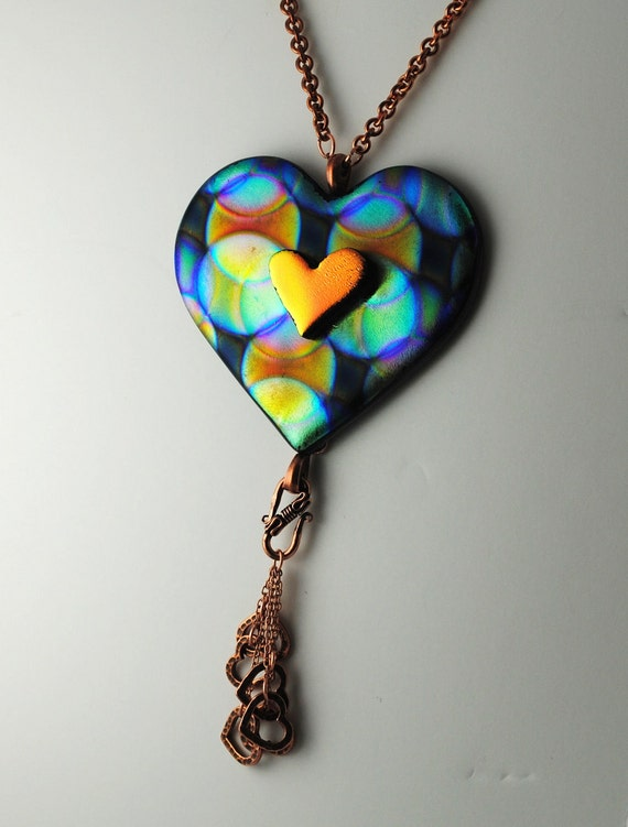 Beautiful Heart Necklace Fused Dichroic Glass One-of-a Kind