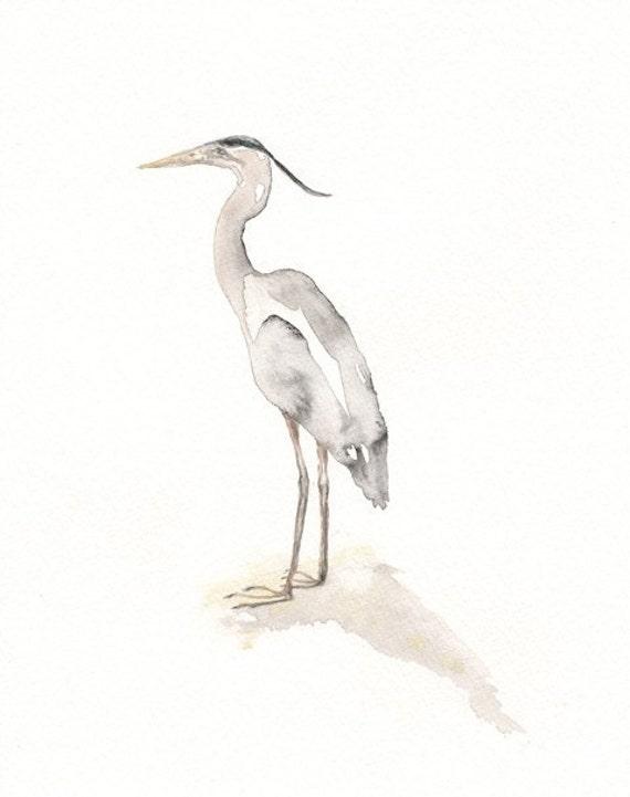 Great Blue Heron / Grey/Gray/Watercolor Print