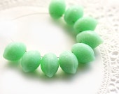 Mint green Lemon beads, Czech Glass - fresh, lime green, spring, fruit, kids, juicy - 14x10mm - 8Pc - 1036