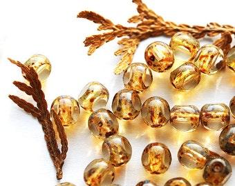 Picasso beads, Czech Glass beads, Light topaz, honey yellow, fire polished, round cut 6mm - 30Pc - 1968