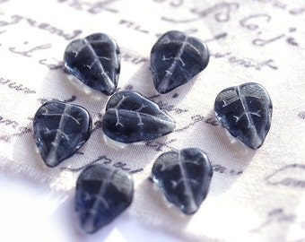 Grey blue leaf beads, Montana Blue Czech glass leaves, pressed leaf beads - 12x10mm - 12Pc - 0064
