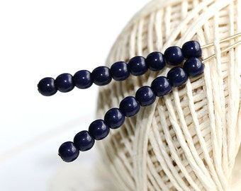 Ink blue beads, czech glass, tiny beads - round spacers, druk - 4mm - approx.100Pc - 0319