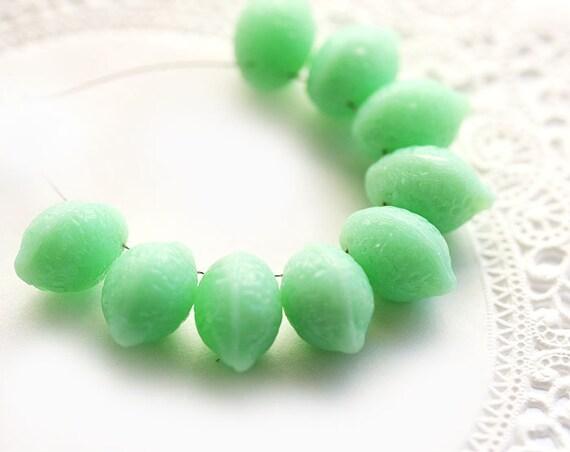 Mint green Lemon beads, Czech Glass - fresh, lime green, spring, fruit, kids, juicy - 14x10mm - 8Pc - 1036