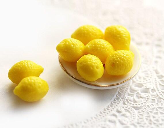 8 pc Lemon beads, yellow Glass beads - fresh, for kids, fruit beads, bright yellow, top drilled, juicy - 14x10mm - 0777