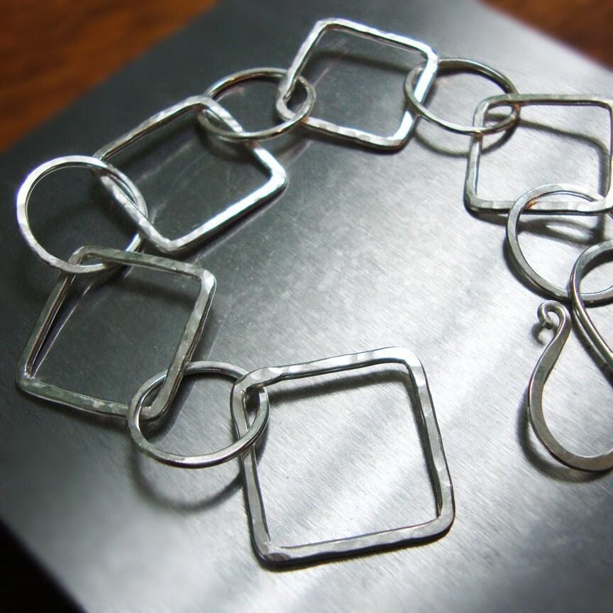 Silver Chain Link Bracelet: Silver Link Bracelet Handmade Bracelet Silver Chain