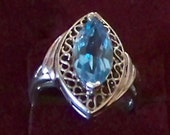 Vintage Sterling Silver Ring Marquise Shaped Blue Topaz in a Filigree Design / November and December Birthstone