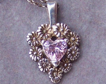 Vintage Sterling Silver Floral Filigree Heart-Shaped Pink Simulated Diamond Pendant with Chain Valentine's Hearts and Flowers