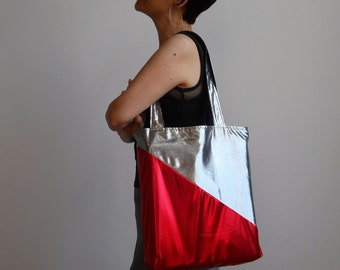 Raygun Tote : Metallic Red and Silver Tote Bag