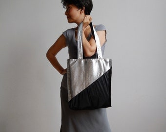 Silver Screen Nights Tote : Metallic Silver and Black Tote Bag