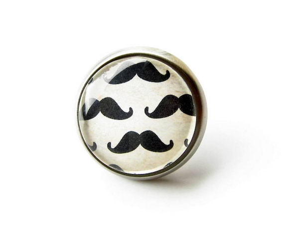 Little Man Nursery Mustache Knob Drawer Cabinet Knob Pull Metal Glass