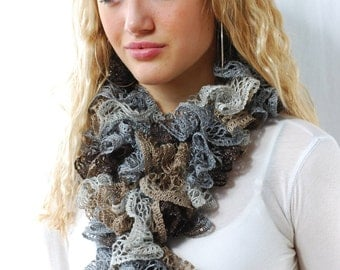Mocha Brown & Gray Ruffled Scarf, MOTHER'S DAY GIFT Hand Knit Lacy Romantic Scarf for Women Teens Spring Fall Winter Accessory Birthday Gift