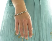 Diamanté Beaded Bracelet with vintage Lucite. Sparkly Handmade Jewellery in mint and aqua. Ideal bridal jewelry
