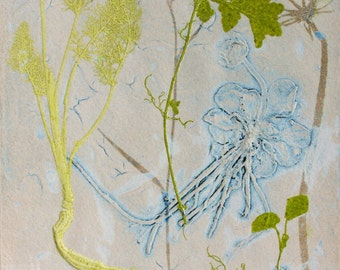 Botanical Collograph mono print. Hand pulled print, Pastel pink and green. OOAK.