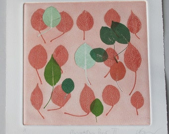 Small pear leaves Monotype. Botanical.  Hand pulled print OOAK