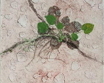 Collograph mono print. Botanical nature, buff and green. OOAK.