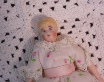 Vintage Ceramic Porcelian Miniature Doll Lady in White with Pink Flowers Reduced Price