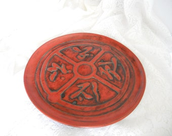 Red Carved Wooden  Plate