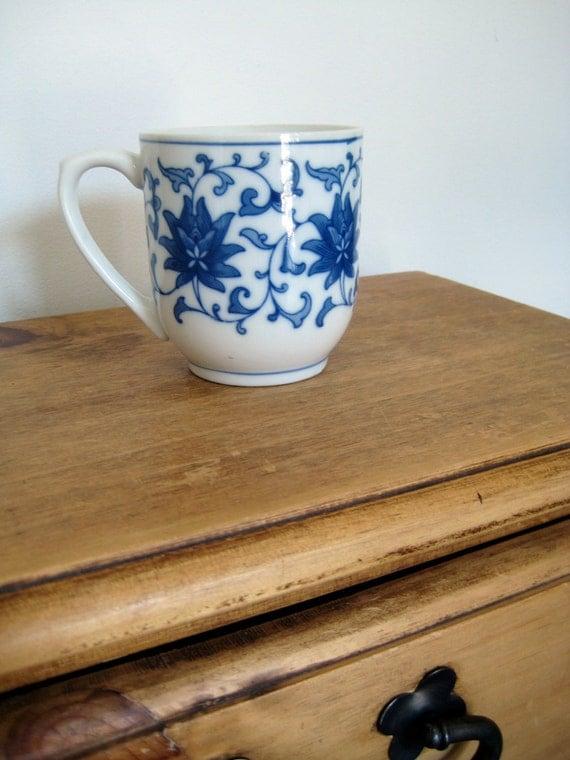 RESERVED Decorative Blue Floral Mug