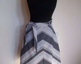 PRICE REDUCED Vintage Grey and White Chevron Skirt