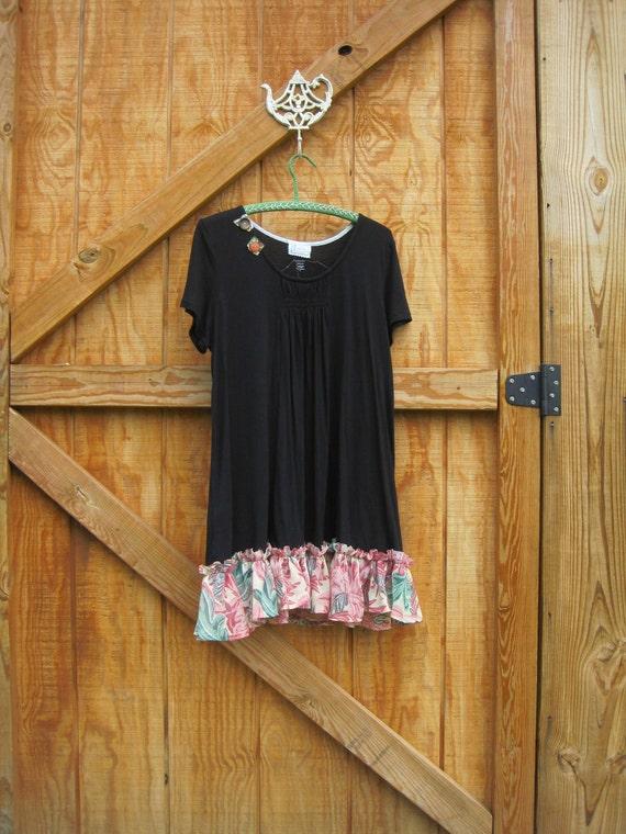 Boho dress mini, Black babydoll dress, rustic black dress, mini gypsy dress black stretch M-L medium large Ready to ship