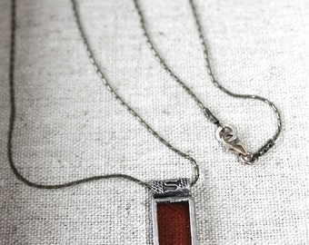 Amber Stained Glass Rectangle Necklace