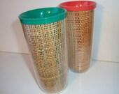 Vintage Melmac Raffia Insulated Thermal Tumblers- Melamine Raffiaware- Burlap- Set of 2