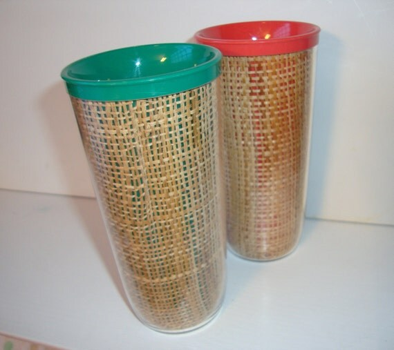 Vintage Melmac Raffia Insulated Thermal Tumblers- Melamine Raffiaware- Burlap- Set of 2