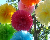 Birthday Party Decorations / 7 Hanging Tissue Paper Pom Poms /  Pick your Colors