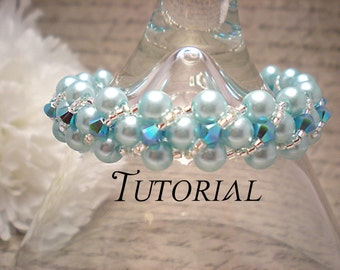 Tutorial PDF Right Angle Weave Swarovski Pearl Bracelet with Twisting Seed Bead and Crystal Overlay, Instant Download