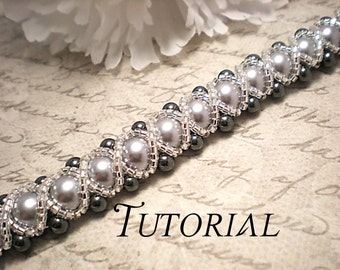 Tutorial PDF Right Angle Weave Swarovski Pearl Braided Bracelet with a Glass Seed Bead Overlay, Instant Download